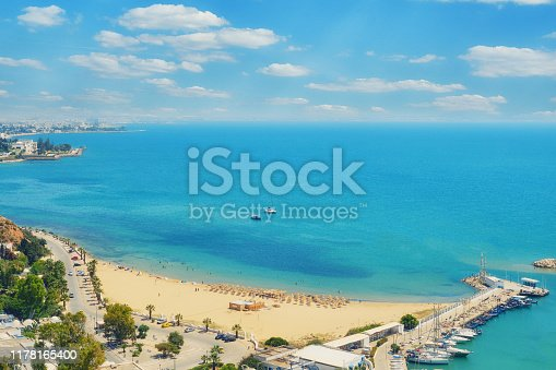 Sea, beach, port with yachts and and city views in Sidi Bou said, Mediterranean, Tunisia