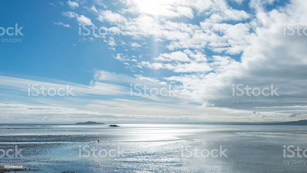 Sea, Beach, Skyline. St. Andrews, Scotland stock photo