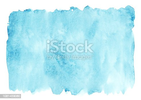 Sea blue hand made brushstroke watercolor stain, isolated on white background, abstract element for trendy design