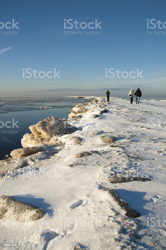 Sea break-wall in winter royalty-free stock photo