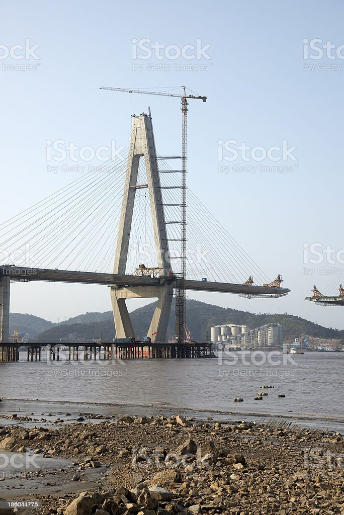 Sea bridge construction royalty-free stock photo