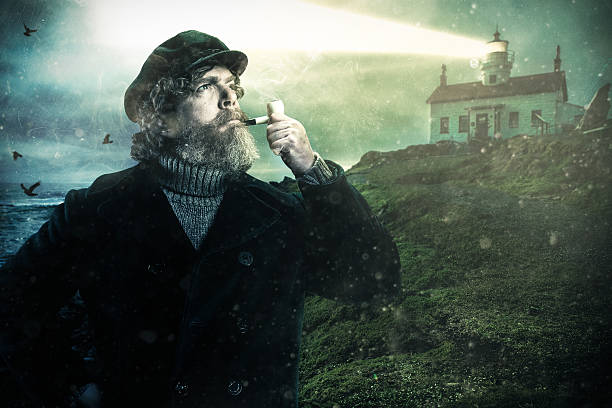 Sea Captain with Smoking Pipe and Lighthouse on the coast - Photo