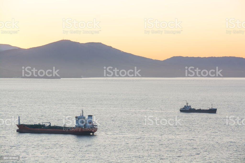 Sea cargo ships anchored in the harbor. royalty-free stock photo
