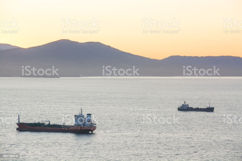 Sea cargo ships anchored in the harbor. royalty-free stock photo
