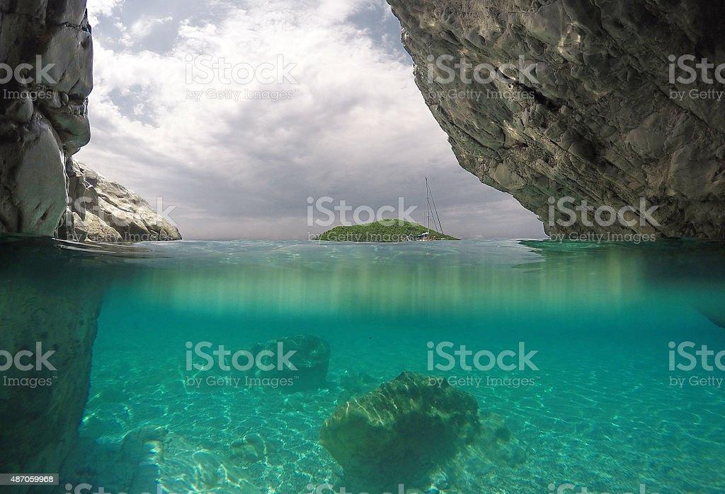 Sea cave in Skopelos island, Greece stock photo