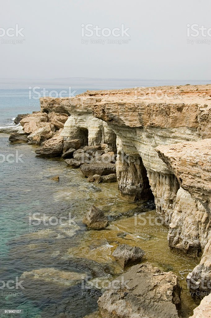 Sea Caves, Cape Greco, Cyprus royalty-free stock photo