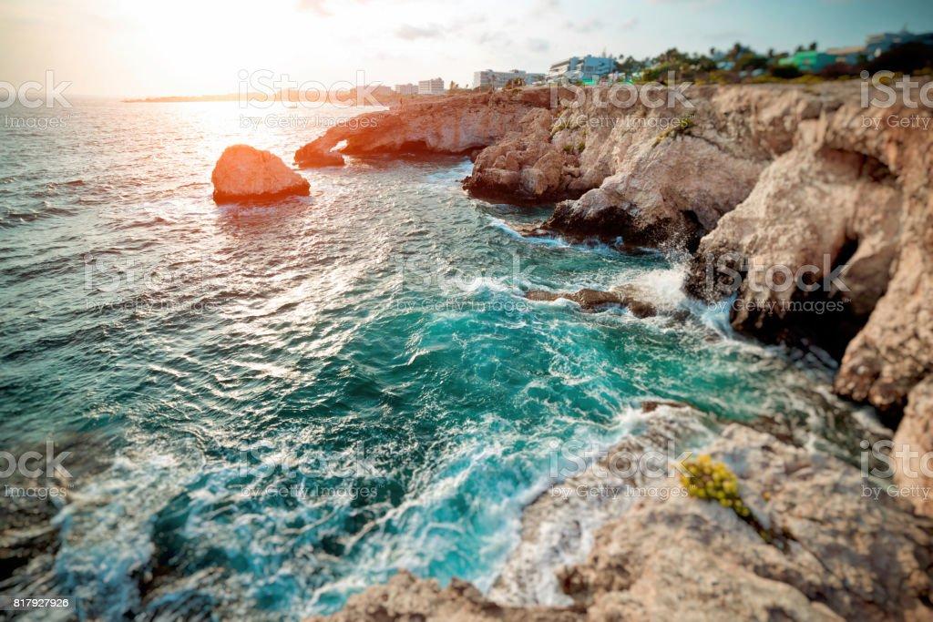 Sea Caves in Ayia Napa, Cyprus. Color tone tuned stock photo