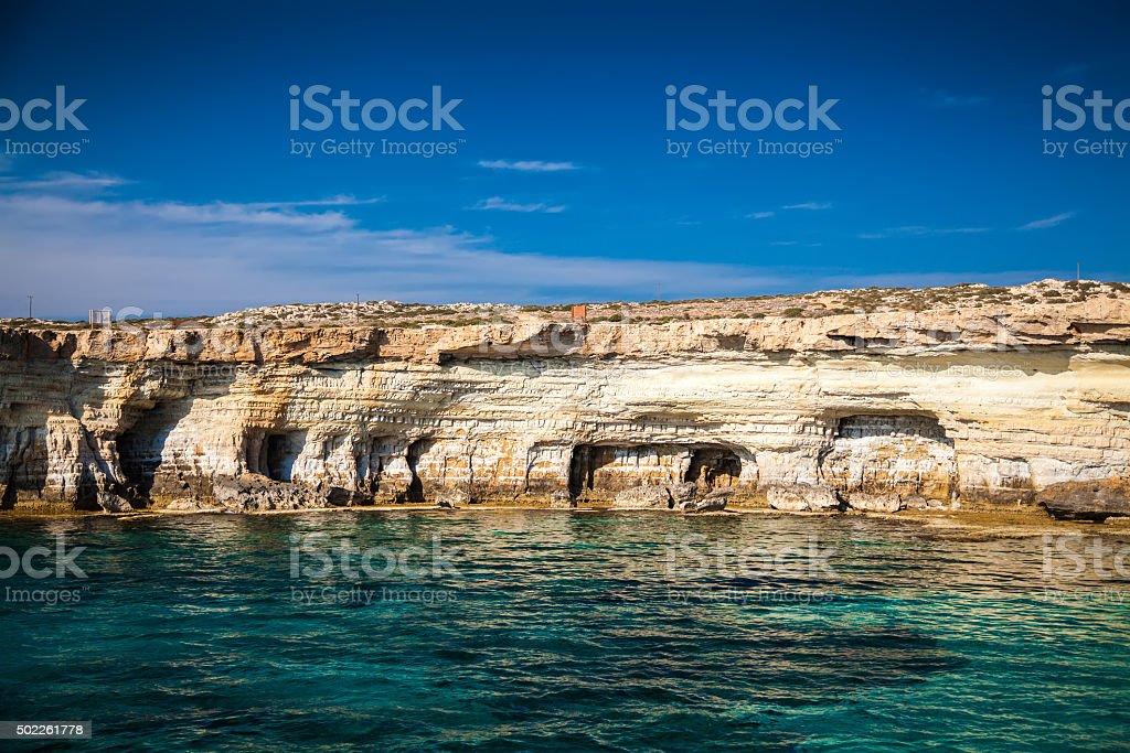 sea caves near Ayia Napa stock photo