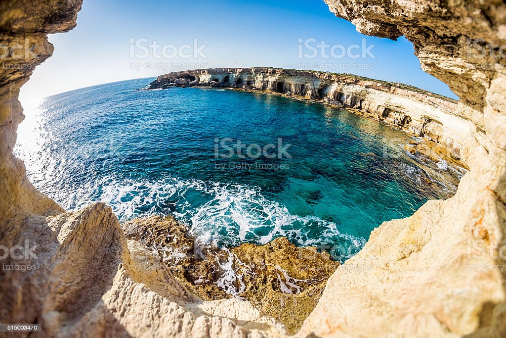 Sea caves near Cape Greko. Mediterranean Sea. Cyprus stock photo