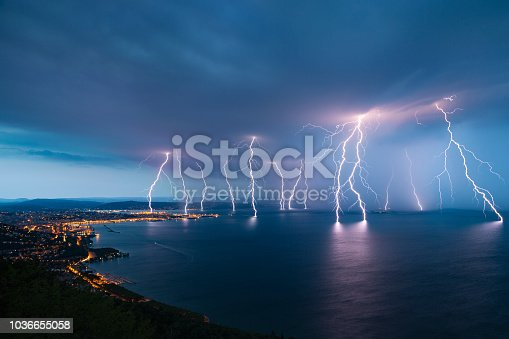 Storm approaching sea city Trieste (Friuli Venezia Giulia region of Italy) from Gulf of Trieste.