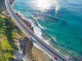 An aerial photograph captured at the beautiful Sea Cliff Bridge located in Clifton, New South Wales.