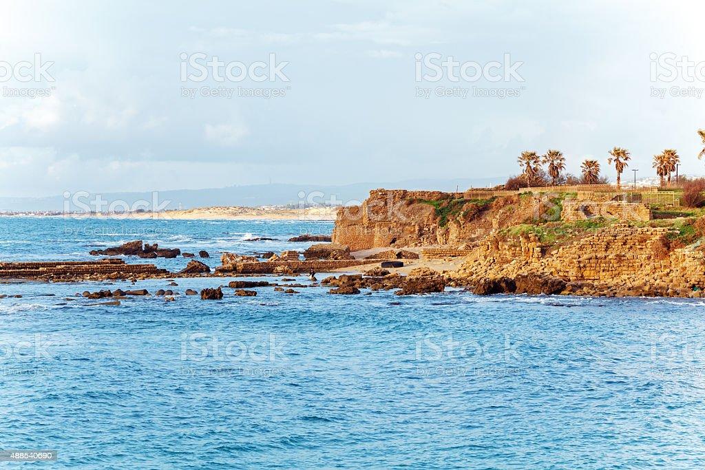 Sea Coast and Ruins of Caesarea Maritima, Israel stock photo