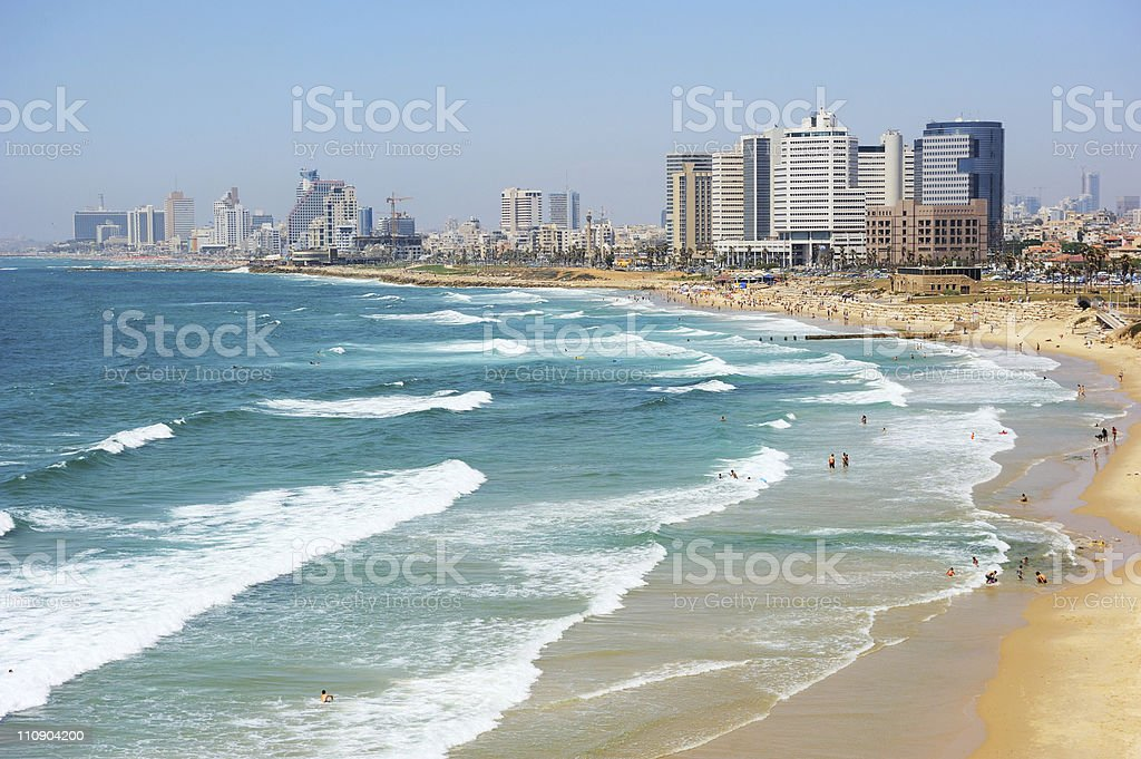 Sea coast and view of Tel Aviv at the evening stock photo