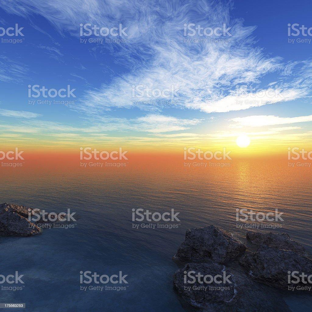 sea coast at sunset royalty-free stock photo