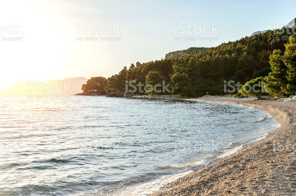 Sea coast at sunset. royalty-free stock photo