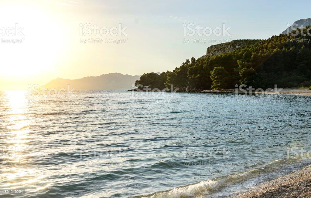 Sea coast at sunset. royalty-free stock photo