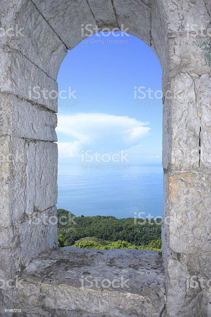 sea coast from a window royalty-free stock photo