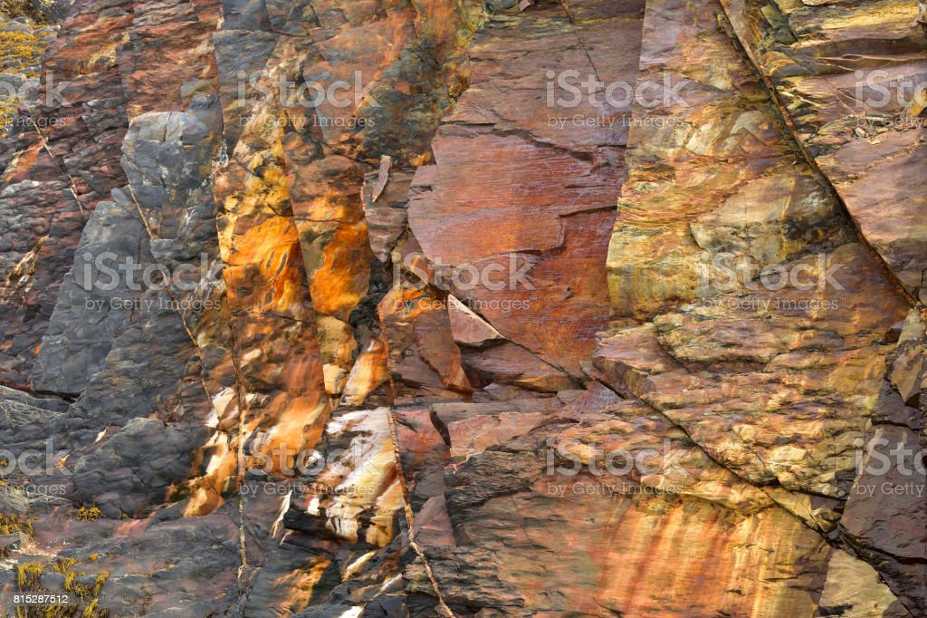 Sea Coast Rock Wall (The Ovens, Nova Scotia Canada) stock photo