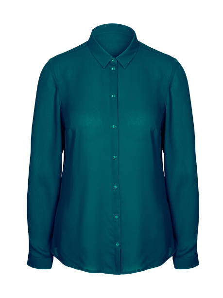 Sea color jade elegant office business woman shirt with a collar isolated stock photo