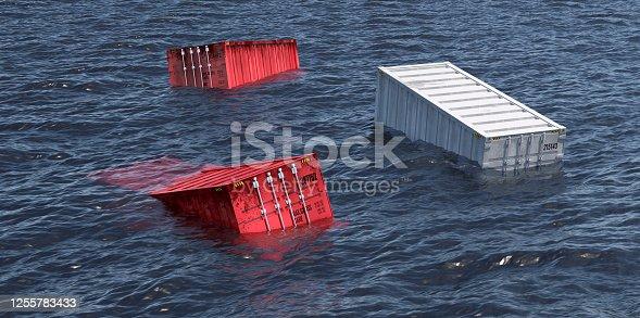sea container fallen in the sea