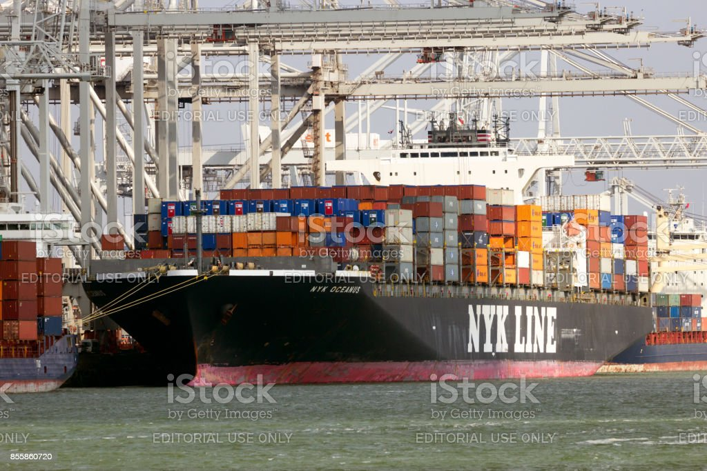 Sea container ship Nyk Oceanus from NYK Line stock photo
