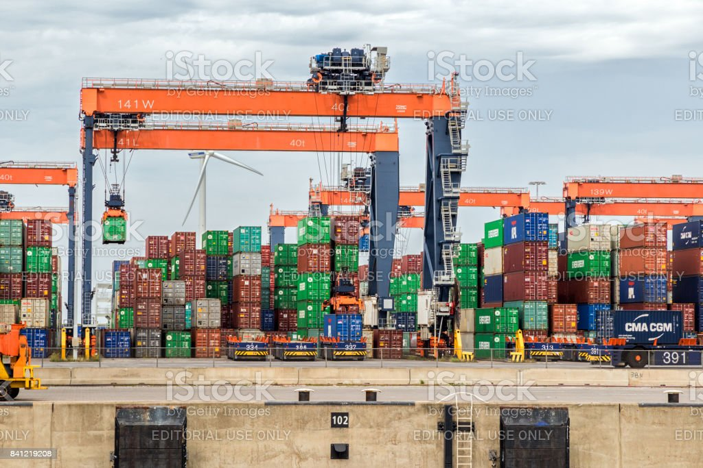 Sea containers stacked in the Port of Rotterdam stock photo