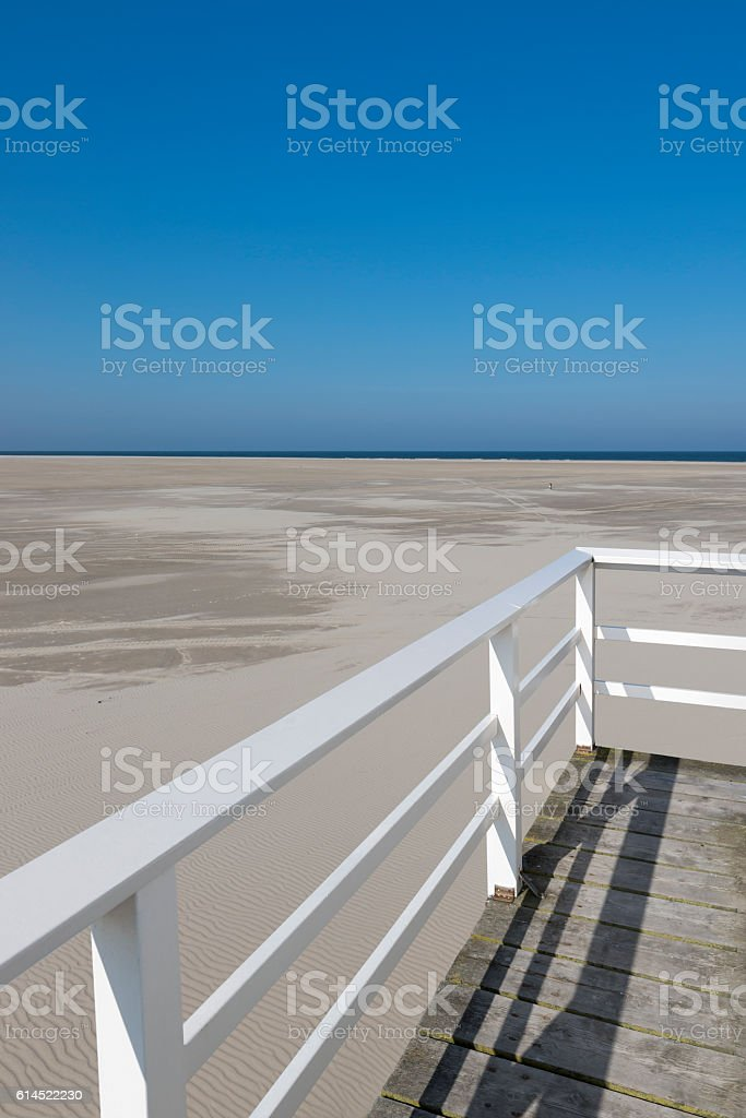 Sea cottage on the island of Vlieland. stock photo