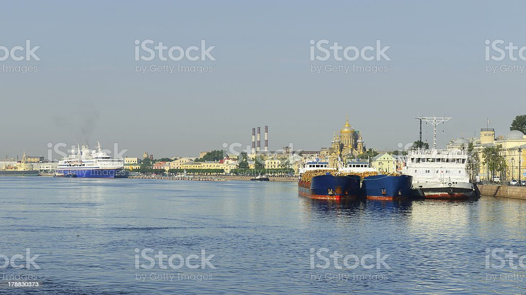 Sea cruise and cargo ships in St. Petersburg royalty-free stock photo