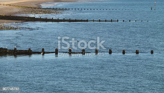 A Set of Wooden Sea Defence Beach Groynes.