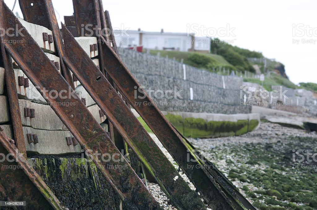 sea defences support coastal walls stock photo