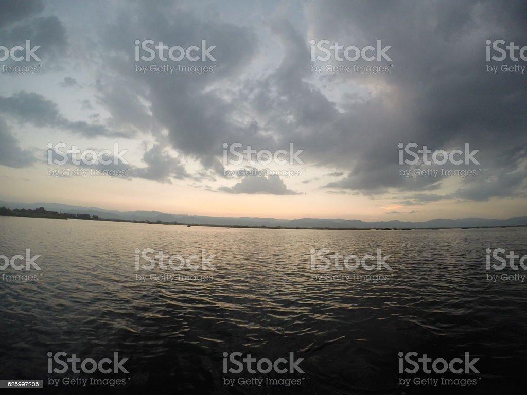 Sea during sunset stock photo