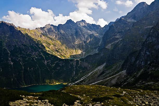 Sea eye and the Black  pond in Polish mountains, Tatras stock photo