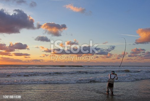 istock Sea fishing, surf fishing, catch of fish 1091661538