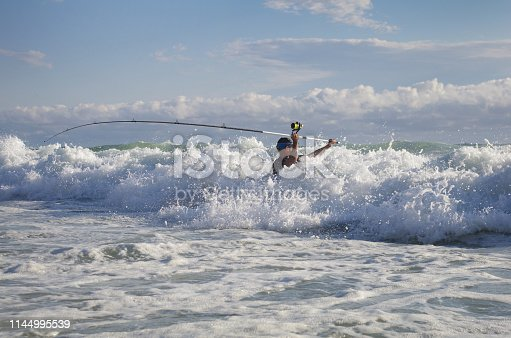 istock Sea fishing, surf fishing 1144995539