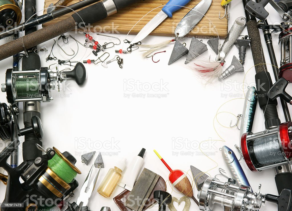 Sea fishing tackle on white royalty-free stock photo