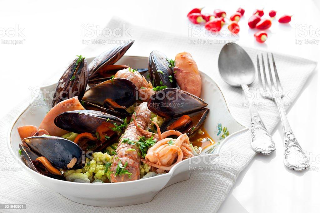 Sea Flavored Passatelli stock photo