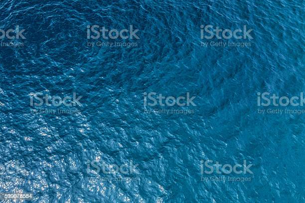 Aerial shot of clear sea water surface with sea floor