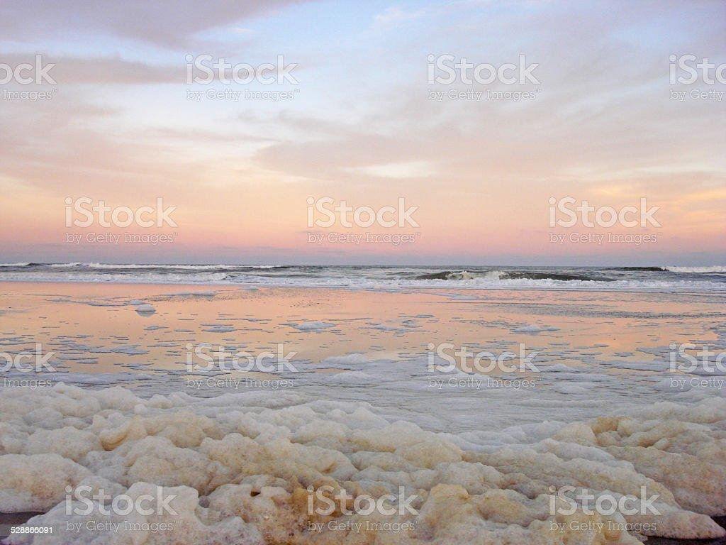Sea Foam Sunset stock photo