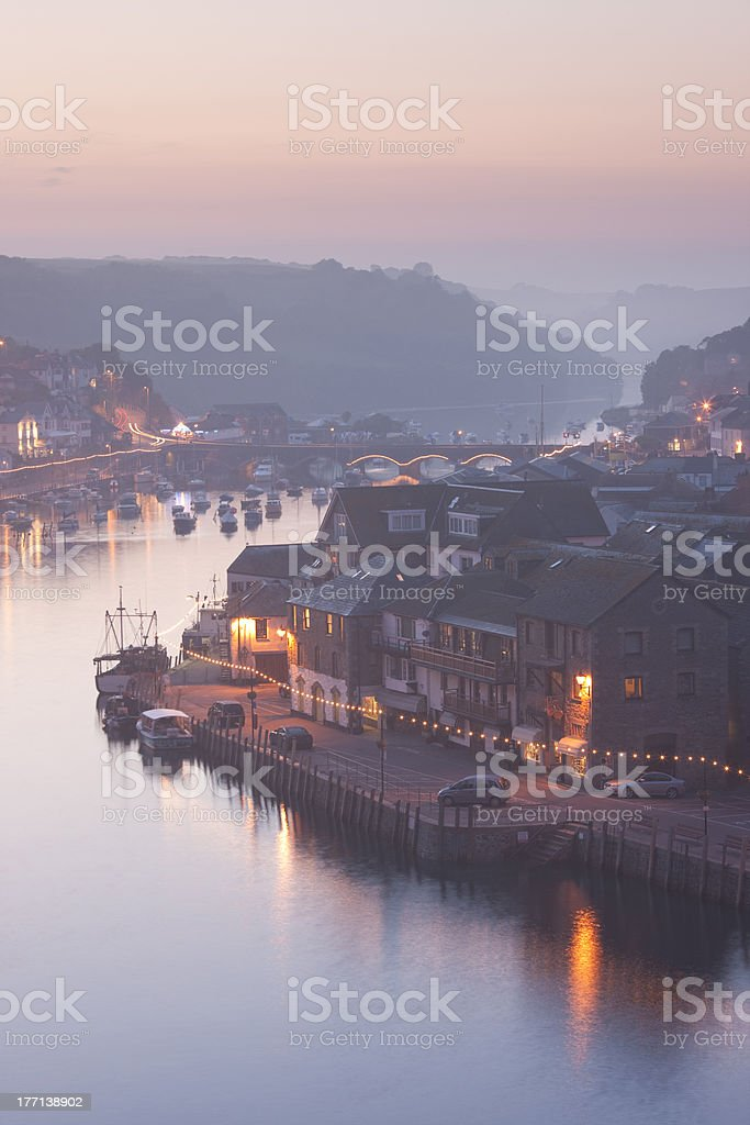 Sea fog over the town of Looe, Cornwall, England, UK stock photo
