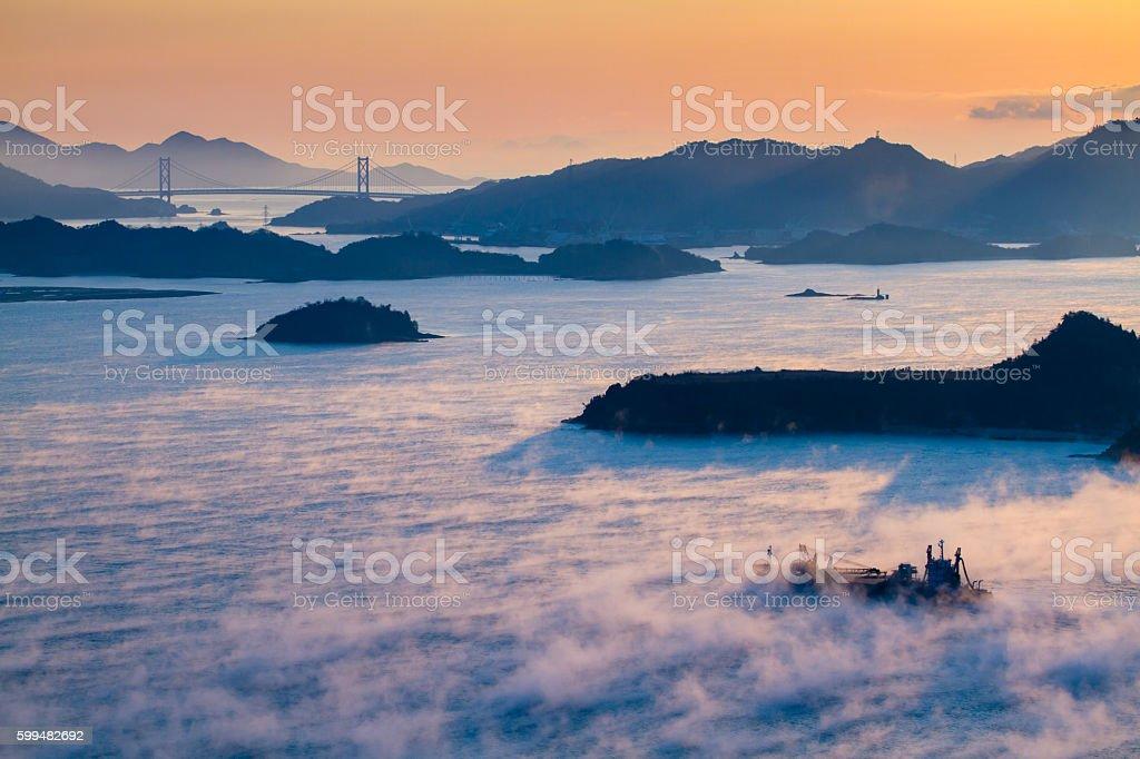 Sea fog stock photo
