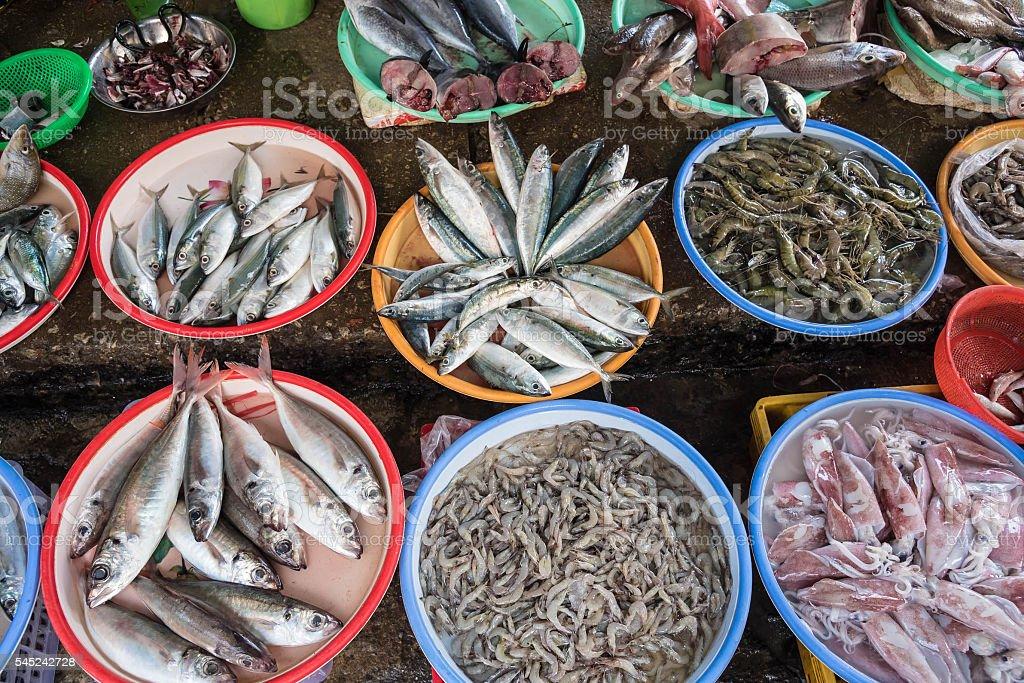Sea food at the market stock photo