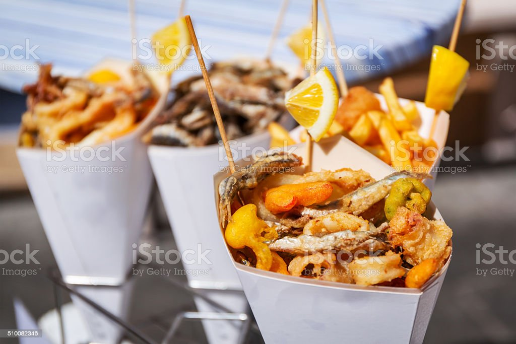 Sea food in cones on the street stock photo