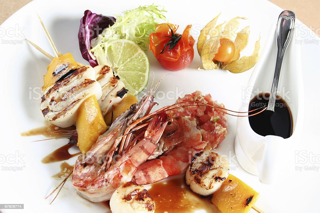 Sea food on gril royalty-free stock photo