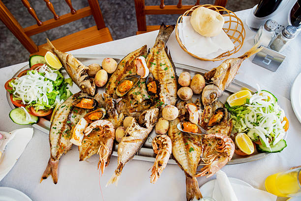 sea food - spanish food stock photos and pictures