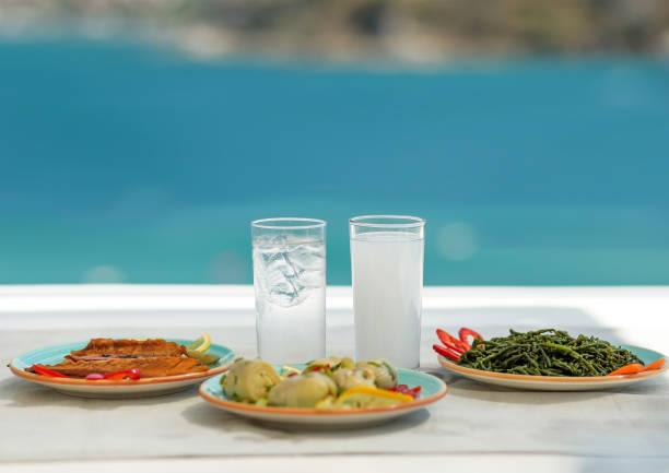 Sea Food Restaurant Table Sea Ouzo Wallpaper Background - foto stock