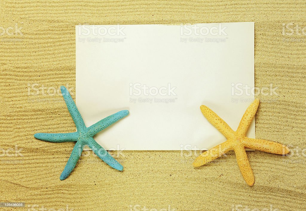 Sea frame with starfishes and shell royalty-free stock photo