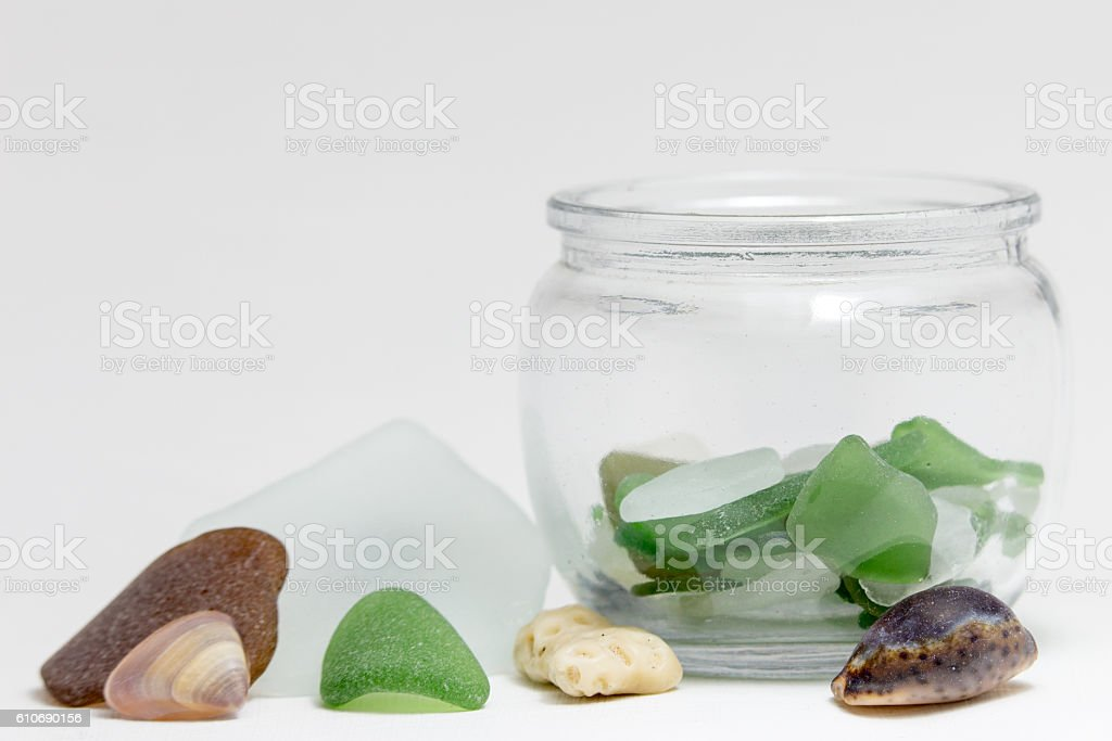 Sea Glass and Shells in Jar stock photo