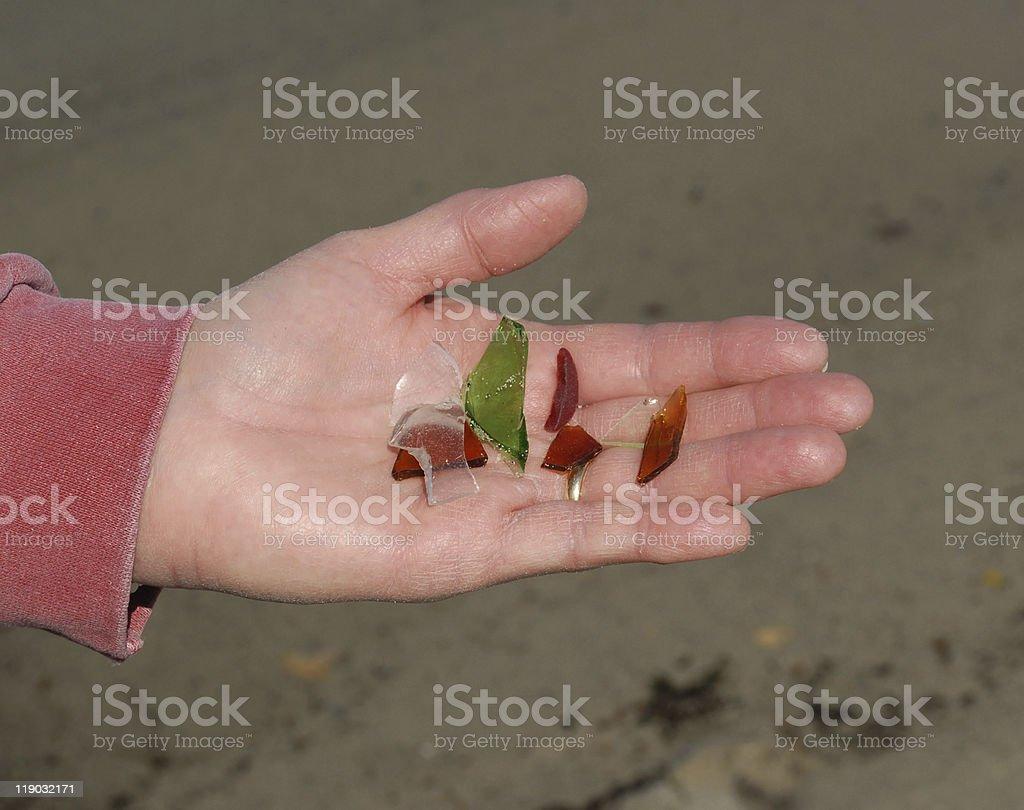 Sea glass found on Pemaquid Peninsula beach in Maine royalty-free stock photo