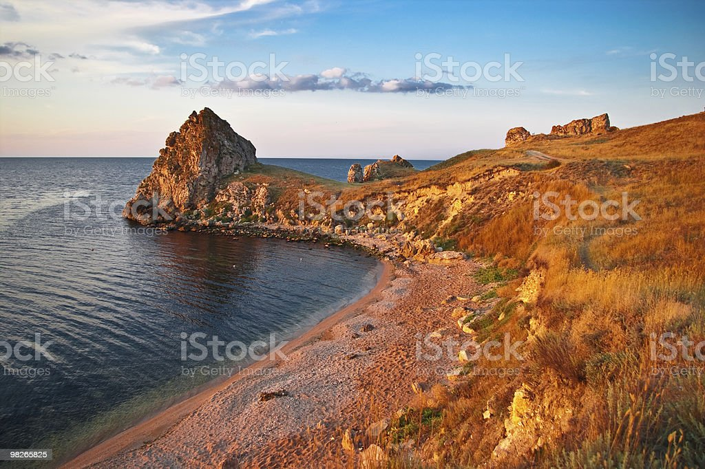 sea gulf on a sunset royalty-free stock photo