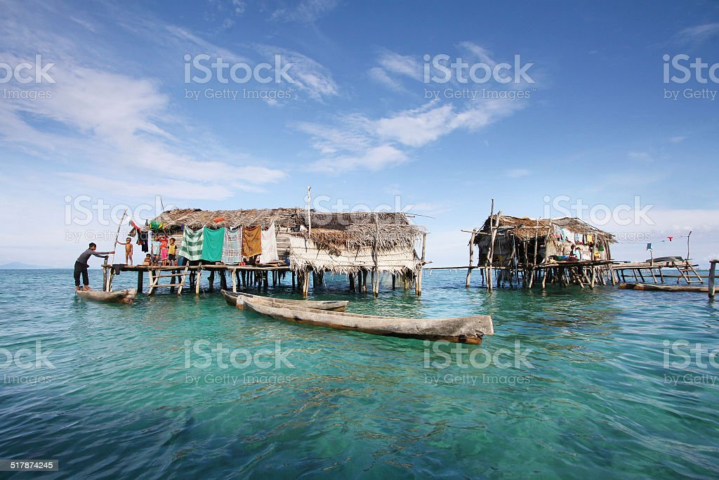Sea gypsy village at Semporna Sabah Malaysia stock photo